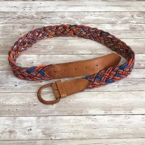 Leather and fabric belt from Guatemala
